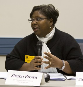 """Sharon Brown, Advisory Council member, minced no wrods and spoke of """"endemic problems at DEP"""" and the need to enforce existing DEP regulations in EJ communities."""