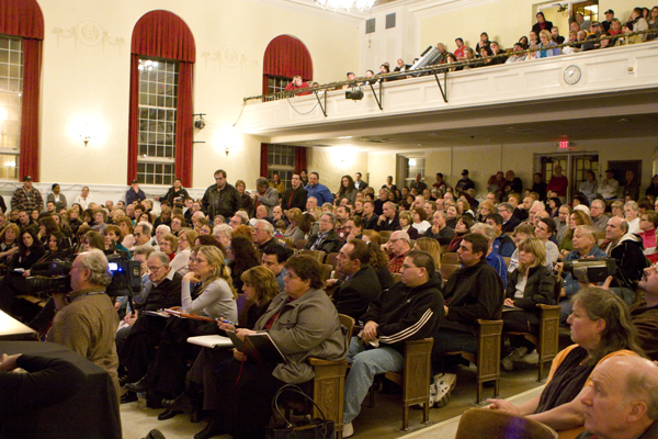 standing room only at Pompton lakes High School auditorium last night