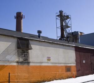 Industrial smoke stacks in Paterson NJ.