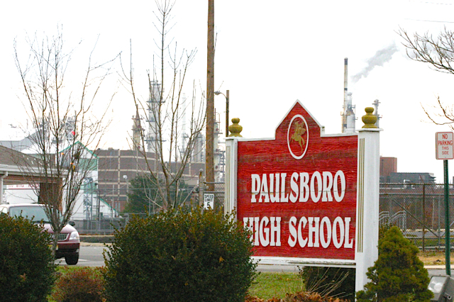 Paulsboro High School, in shadow of Valero toxic air emissions. Located in Chairman Burzichelli's district. al