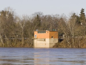 Trenton's water supply intake on the Delaware River, just north of Trenton