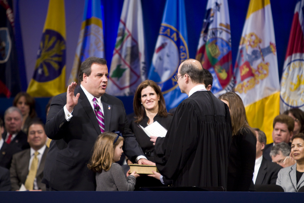 Governor Christie takes the oath of office at his innagural. I wonder if he's given any thought to what kind of world will his children and grandchildren inherit?