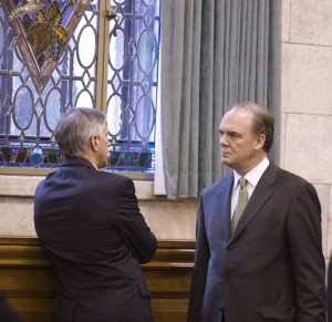 Bob Martin talks with lobbyist before his confrimation hearing. Martin seems not to understand that DEP is not a legislative body, can not make law, and must base decisions on science adn law, not politics.