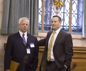 "Ray Cantor (L), ""Special Assistant"" to DEP Commissioner Bob Martin, talsk with lNJ Business & Industry Association lobbyist Dave Brogan at Martin's Senate confirmation hearing"
