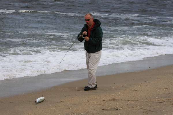 Yours truly, landing a small bluefish hooked by Benson Chiles on Sandy Hook point. (photo by Benson)