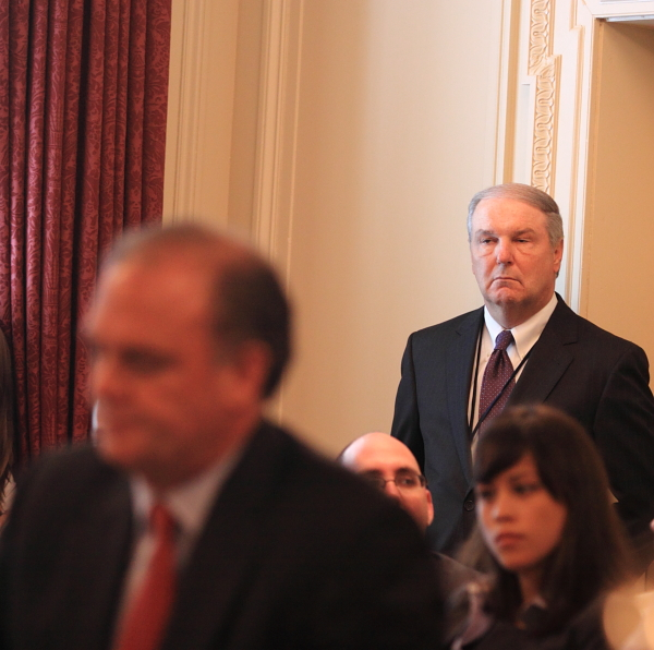 His eye is on the sparrow - Puppetmaster Jim Benton, head of NJ Petroleum Council, keeps an eye on DEP Commissioner Bob Martin during yesterday's testimony on Gulf BP oil blowout