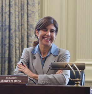 Senator Jennifer Beck (R-Monmouth) - works to narrow liability bill, as sought by oil and chemical industry lobbyists
