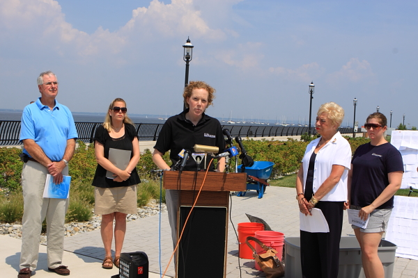 Debbie Mans, NY/NJ Baykeeper, speaks at Keyport press conference. Assemblywoman Joan Voss (D-Bergen) on right. Keyport local official on left (sorry, didn;t get her name!)