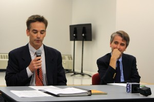 Steve Doughty (L), NJDEP stays on script - State Climatologist Robinson (R) ducks tough issues.