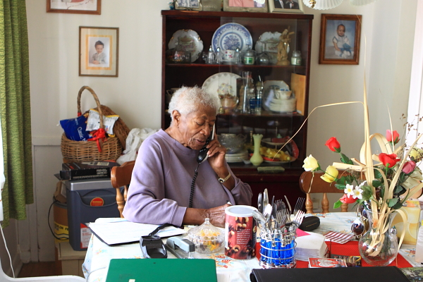 Ms. Wright, 93, homeowner, has lived in Gardens home since 1974 (36 years).