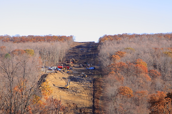 Tennessee Gas Pipeline udne construction, destroyong forest in Newark Watershed lands, Hihglan Lakes, NJ (looking east)