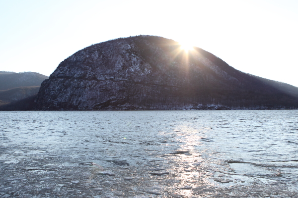 Sunset over Storm King Mountain and an icy Hudson River. The 1965 victorious battle against a Con Edison pump storage project was part of the founding of the modern envrionmental movement.