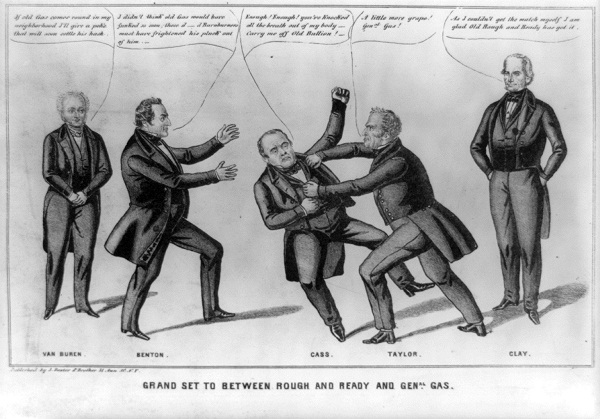 Zachary Taylor and Lewis Cass engage in a bout of fisticuffs in their battle for the presidency in 1848