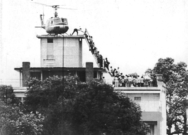 US Embassy during the fall of Saigon, April 29, 1975.