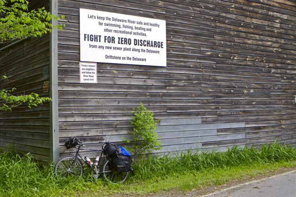 """""""Fight for Zero Discharge"""" - and bicycles! (Delaware River, Pa. side)"""