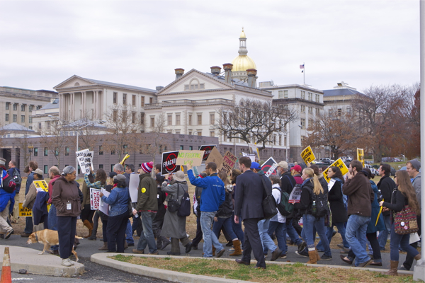 protesters then march to State House to target Gov. Christie's vote on DRBC