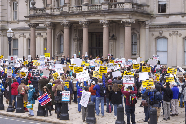 protesters filled the entire space in front of the State House