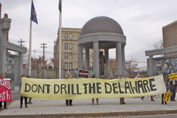 across the street from State House, at new WW II memorial - Occupy Trenton protest was dwarfed by fracktivists, who have joined forces