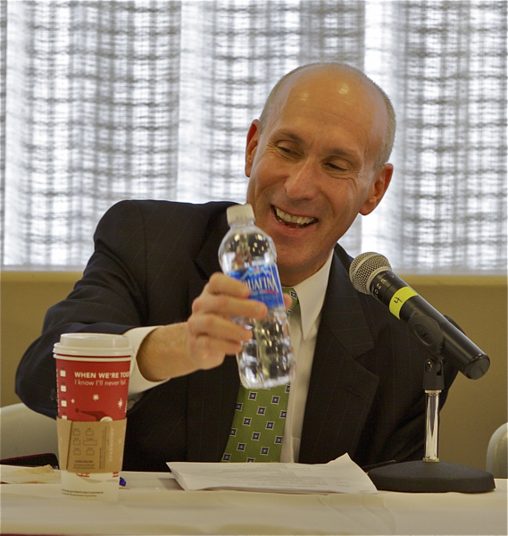 Outgoing Christie BPU President Lee Solomon gets a laugh about bottled water at a water utility conference
