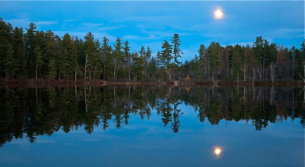 A full moon rising over Osgood Pond near Paul Smiths, N.Y - Adirondack spruce forests and bogs will be destroyed as NY climate and growing season become like Georgia due to global warming. Credit Ruth Fremson, NY Times.