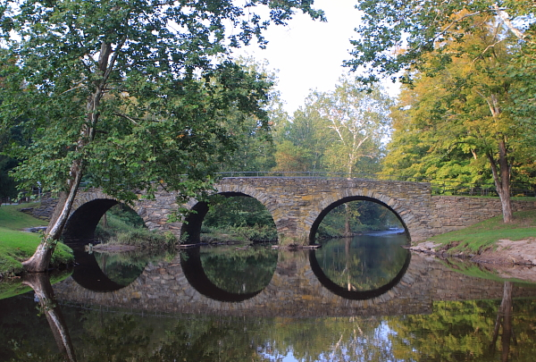 Bridge over tranquil waters - Stone Arch Bridge, Callicoon Creek, NY