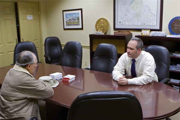 Senator McIlhinney meets with constituent to explain vote - the Senator was nervous