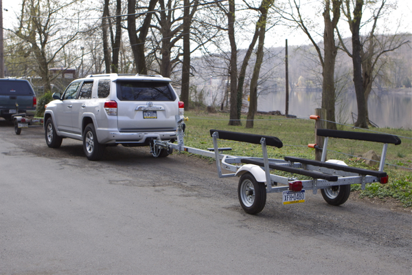 trailers access Lambertville boat ramp today - note Pennsylvania plates