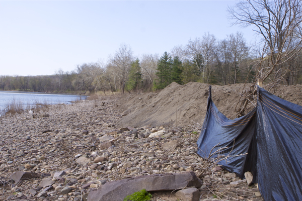 looking north: silt fence installed along only 100 feet of 450 foot long fill