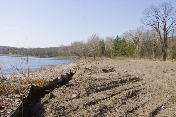 debris fill, bulldozed vegetation, and erosion controls 