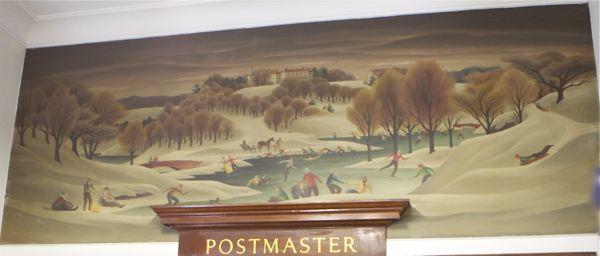 Mural in Bordentown Post Office shows skaters on Crosswicks Creek