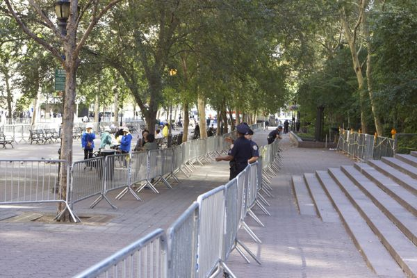 Barricades at the ready, there were more cop than protesters in