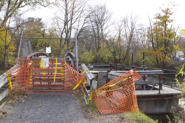 D&R Canal SP - trail closed, bridge over Swan Creek closed indefinitely. Just one of scores of crumbling water infrastructure in the Park.