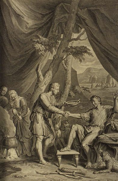 Esau Sells His Birthright for Pottage of Lentils, a 1728 engraving by Gerard Hoet.