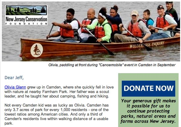 "NJCF fundraising email titled: ""Will you help Olivia get parks for Camden kids?"" (12/8/14)"
