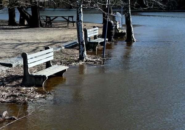 high tide along Delaware River, Bordentown, NJ