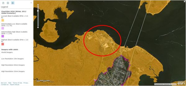 Areas in yellow are flood risk areas based on FEMA flood hazard maps plus the most conservative estimate of sea level rise (0.3 feet by 2050). The entire BL England plant is within this flood zone.  (Source: Pinelands Preservation Alliance, link below)