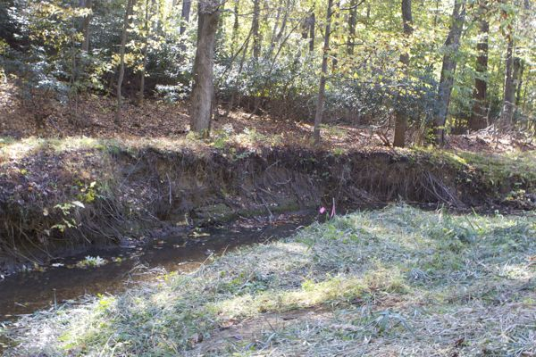 stram bank erosion just downstream of pipeline crossing
