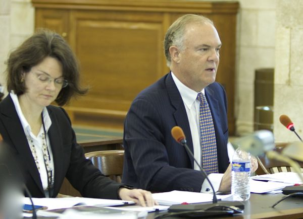 DEP Commissioner Bob Martin testifies to Senate Budget Committee - (Asst. Commissioner for Financial Mgmt on left) (4/16/15)