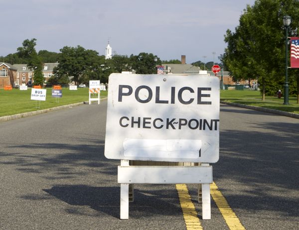 Livingston HS - police checkpoint blocks those without invitations from entering event. (6/30/15)