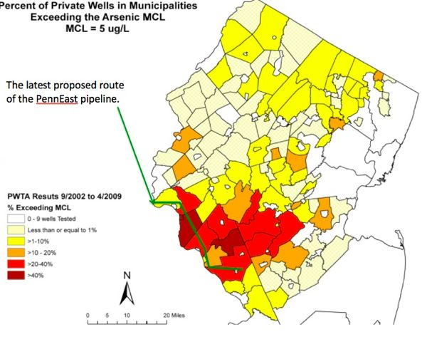 Source: NJ DEP Private Well Testing Act data - red is 20-40% of wells exceeding standard, dark red more than 40%.