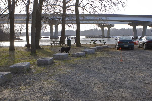 Location of new Gazebo - at full moon high tide, this spot is under 4 inches of water. I 295 one rDelaware river in background