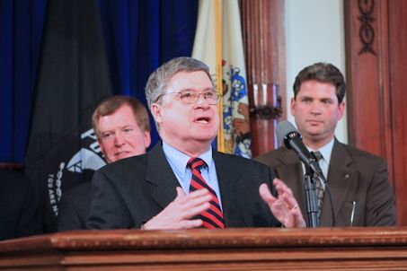 Tom Gilmore speaks in Governor's Office, when  Corzine signed legislation establishing a moratorium on the harvest of horseshoe crabs. (March 2008)