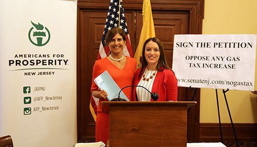 Sen. Jennifer Beck and Americans for Prosperity-NJ held a State House press conference on May 26, 2016 and presented two key elements of Beck's Transportation Trust Fund proposal that fully funds the TTF over seven years with no increase to the gas tax. (SenateNJ.com)