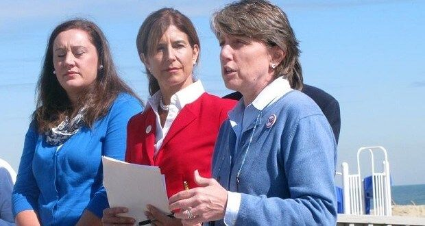 New Jersey Assemblywoman Caroline Casagrande, left, Sen. Jennifer Beck, center, and Cindy Zipf, executive director of Clean Ocean Action, speak at a news conference in Sea Bright, N.J., Tuesday Oct. 6, 2015,