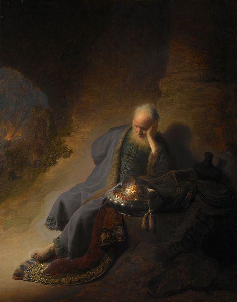 """Jeremiah Lamenting the Destruction of Jerusalem"" (Rembrandt - 1630)"