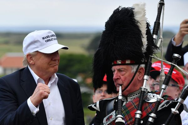 Donald J. Trump, the presumptive Republican presidential nominee for president, arriving at his Trump Turnberry resort in Scotland on Friday. Credit Jeff J Mitchell/Getty Images