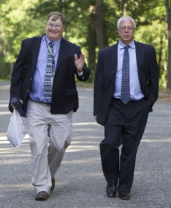 NJ State Geologist Jeff Hoffman (L) is on a tight leash of Christie DEP political appointee Ray Cantor (6/1/16)