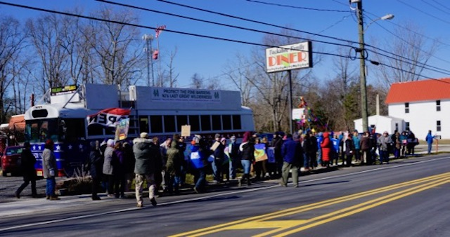 protesters march in Tuckerton, NJ