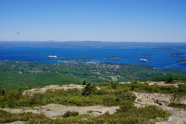 Bar Harbor, from Cadillac Mt. There were 2 large cruise ships in the Harbor