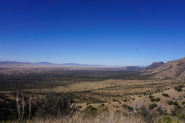 Sierra Madre mountains, Mexico, on let. US Pantagonia mountains straight ahead. No wall necessary.